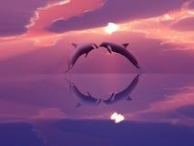 Dolfijnen die in de zonsondergang spelen Stock Foto