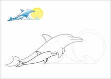 Dolfijnen die pagina kleuren Stock Afbeelding
