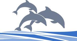 Dolfijnen die vectorteken voor uw ontwerp of embleem zwemmen royalty-vrije stock afbeeldingen