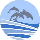 Dolfijnen die vectorteken voor uw ontwerp of embleem zwemmen stock foto