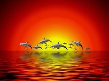 Dolfijnen en OceaanIllustratie Stock Afbeelding
