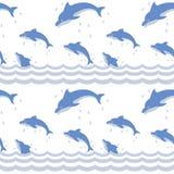 Dolfijnen in het overzees | Naadloos patroon Royalty-vrije Stock Afbeeldingen