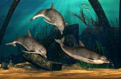 Dolfijnen het Zwemmen stock illustratie