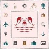 Dolfijnen met zon & overzees - Embleem vector illustratie