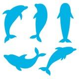 Dolfijnsilhouetten op de witte achtergrond Zwemmende dolfijnen Royalty-vrije Stock Afbeelding