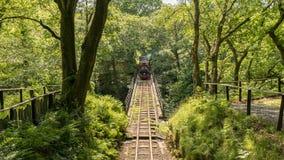 Dolgoch, Gwynedd, Wales, UK. May 25, 2017: A train passing the Dolgoch Viaduct on the Talyllyn Railway Stock Photo