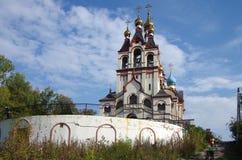 DOLGOPRUDNY, RÚSSIA - 27 de setembro de 2015: Igreja do ícone de Kazan da mãe do deus Imagem de Stock