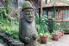 Dolharubang, symbol of Jeju island. Dolharubang the `grandfather stones` and also a national landmark symbol of Jeju Island in South Korea stock photo