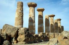 Dolina świątynie, Agrigento Świątynia Zeus Zdjęcia Royalty Free
