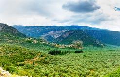 Dolina Amfissa, jest miasteczkiem w Phocis zdjęcia royalty free