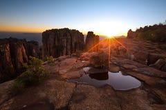 Dolina Desolation w Camdeboo parku narodowym blisko Graaff-Reine Zdjęcia Royalty Free