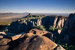 Dolina Desolation w Camdeboo parku narodowym blisko Graaff-Reine Obrazy Stock
