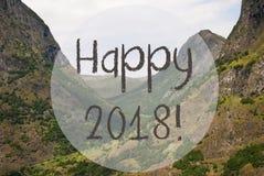 Dolina I góra, Norwegia, tekst Szczęśliwy 2018 Zdjęcia Stock