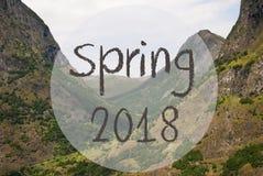 Dolina I góra, Norwegia, tekst wiosna 2018 Zdjęcia Royalty Free