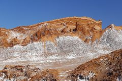 Dolina księżyc - Valle de los angeles Luna, Atacama pustynia, Chile obraz stock