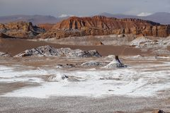Dolina księżyc - Valle de los angeles Luna, Atacama pustynia, Chile zdjęcie stock