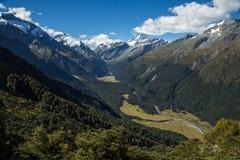 Dolina pod góry Aspirować Południowa wyspa Nowa Zelandia Zdjęcia Stock