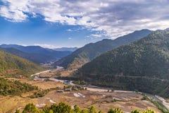 Dolina w Bhutan blisko Punakha fotografia royalty free