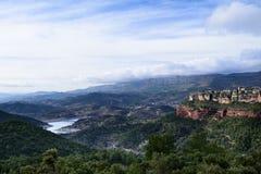 Dolinny krajobraz w Hiszpania Mauretański kasztel Siurana, Monsant, Catalonia miejsca przeznaczenia szkła target885_0_ mapy podró Zdjęcia Royalty Free