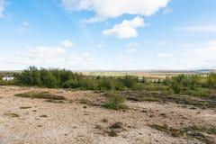 dolinny w Haukadalur gorącej wiosny terenie blisko Fotografia Royalty Free