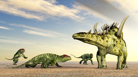 Doliosauriscus und Gigantspinosaurus lizenzfreie abbildung