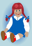 Doll. Beautiful doll on blue background royalty free illustration