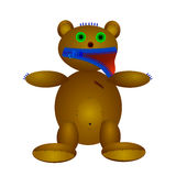 Doll of bear. Vector illustration of a bear doll, made with their own hands, toys with buttons and zipper snake Royalty Free Stock Photo