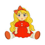 Doll. Beautiful doll. The red dress with beautiful bow on her head Royalty Free Stock Photos
