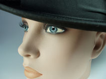 Doll with black hat 1. Perhaps this doll stood in a shop-window a long time ago. I think she looks like an aristocratic woman Royalty Free Stock Photos