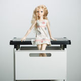 Doll in a box on a light background. blurred rear Royalty Free Stock Images