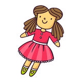Doll, bright vector children illustration isolated on white Stock Photos