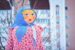 Traditional doll at the holiday Maslenitsa in Belarus. Doll for burning at the holiday Maslenitsa in the city at the fair stock images