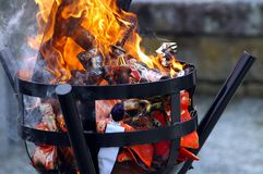 Doll burning Royalty Free Stock Image