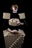 Doll in cardboard dress Stock Image