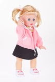 Doll  with cell phone toy in white background Stock Images