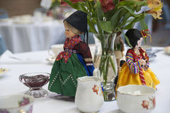 Doll Center Piece. White Doll Tea Center at The Salvation Army, Tacoma Corps, Washington USA Stock Images