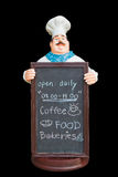 Doll ceramic chef with chalkboard Stock Photography