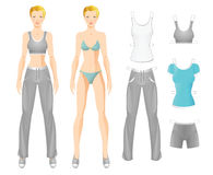 Doll with clothes. Body template of blonde girl. Clothes for women. Set of template paper clothes for sport Royalty Free Stock Image