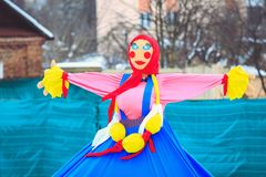 Traditional Maslenitsa doll at the festival. Doll depicting the winter on the holiday Maslenitsa tradition of the Slavs in Belarus royalty free stock photo
