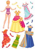Doll with dresses for cut-outs. Raster illustration.of the doll with dresses for cut-outs Stock Photo