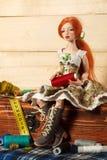 Doll en draad royalty-vrije stock afbeelding