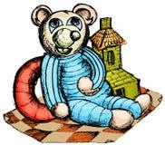 Doll en speelgoed op tapijt Royalty-vrije Stock Foto
