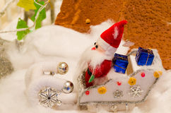 Doll fabric of santa  in snow Royalty Free Stock Image