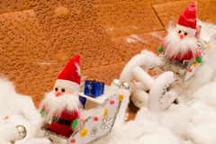 Doll fabric of santa  in snow Royalty Free Stock Photography