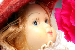 Doll Face. Doll Face with pink flower (Close-up Stock Photography