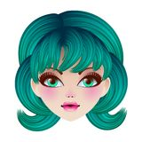 Doll face. Vector illustration. Stock Image