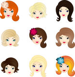 Doll faces set Royalty Free Stock Photos