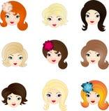 Doll faces set. Girl faces set, creative concept Royalty Free Stock Photos