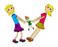 Doll fight. Two pretty cartoon girls having a disagreement and fighting over a toy doll Stock Photo
