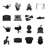Doll, food, plumbing and other web icon in black style.. Doll, food, plumbing and other  icon in black style. equipment, profession icons in set collection Royalty Free Stock Image